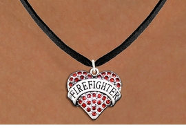 "<BR>       WHOLESALE FASHION HEART JEWELRY <bR>                     EXCLUSIVELY OURS!! <Br>                AN ALLAN ROBIN DESIGN!! <BR>       CLICK HERE TO SEE 1000+ EXCITING <BR>             CHANGES THAT YOU CAN MAKE! <BR>          LEAD, NICKEL & CADMIUM FREE!! <BR>     W1557SN - ANTIQUED SILVER TONE AND <BR> RED CRYSTAL ""FIREFIGHTER"" HEART CHARM <BR>      NECKLACE FROM $5.90 TO $9.35 �2014"
