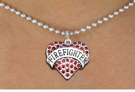 """<BR>       WHOLESALE FASHION HEART JEWELRY <bR>                     EXCLUSIVELY OURS!! <Br>                AN ALLAN ROBIN DESIGN!! <BR>       CLICK HERE TO SEE 1000+ EXCITING <BR>             CHANGES THAT YOU CAN MAKE! <BR>          LEAD, NICKEL & CADMIUM FREE!! <BR>     W1557SN - ANTIQUED SILVER TONE AND <BR> RED CRYSTAL """"FIREFIGHTER"""" HEART CHARM <BR>      NECKLACE FROM $5.40 TO $9.85 �2014"""
