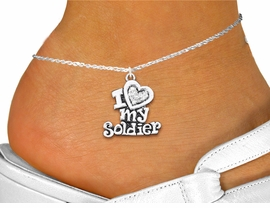 "<bR>      WHOLESALE FASHION COSTUME JEWELRY <BR>                     EXCLUSIVELY OURS!! <BR>                AN ALLAN ROBIN DESIGN!! <BR>          LEAD, NICKEL & CADMIUM FREE!! <BR>     W1563SAK - SILVER TONE AND CLEAR <BR>CRYSTAL ""I LOVE MY SOLDIER"" CHARM <Br>   AND ANKLET FROM $4.70 TO $9.35 �2014"