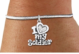 "<bR>    WHOLESALE FASHION CHARM BRACELET <BR>                     EXCLUSIVELY OURS!! <BR>                AN ALLAN ROBIN DESIGN!! <BR>          CADMIUM, LEAD & NICKEL FREE!! <BR>W1563SB - SILVER TONE AND CLEAR CRYSTAL <BR> ""I LOVE MY SOLDIER"" CHARM & SNAKE CHAIN<BR>      BRACELET FROM $5.98 TO $12.85 �2014"