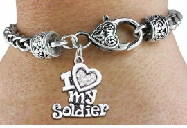 "<BR>  WHOLESALE HEART FASHION JEWELRY <bR>                   EXCLUSIVELY OURS!! <Br>              AN ALLAN ROBIN DESIGN!! <BR>        LEAD, NICKEL & CADMIUM FREE!! <BR>   W1563SB - ANTIQUED SILVER TONE AND <BR>CLEAR CRYSTAL ""I LOVE MY SOLDIER"" HEART CHARM <BR>      ON HEART LOBSTER CLASP BRACELET <Br>        FROM $5.98 TO $12.85 �2014"