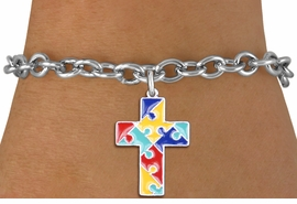 "<br> WHOLESALE AUTISM CHARM BRACELET <bR>                    EXCLUSIVELY OURS!!<BR>               AN ALLAN ROBIN DESIGN!!<BR>""Lord Protect Me And Keep Me Safe"" <BR>     CADMIUM, LEAD & NICKEL FREE!!<BR>     W1572SB - 2-SIDED SILVER TONE <Br>AUTISM COLOR PUZZLE CROSS CHARM <BR>& BRACELET FROM $4.50 TO $8.35 �2014"
