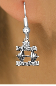 "<br>     WHOLESALE SPORTS CHARM EARRINGS <bR>                 EXCLUSIVELY OURS!! <BR>            AN ALLAN ROBIN DESIGN!! <BR>      CADMIUM, LEAD & NICKEL FREE!! <BR>W1573SE - SILVER TONE ""IF I BELIEVE IT,<Br> I CAN DO IT!"" WEIGHTLIFTING CHARM EARRINGS <BR>          FROM $3.65 TO $8.40 �2014"