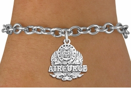 <br>WHOLESALE ARMED FORCES CHARM BRACELETS <bR>                    EXCLUSIVELY OURS!!<BR>               AN ALLAN ROBIN DESIGN!!<BR>      CLICK HERE TO SEE 1000+ EXCITING<BR>            CHANGES THAT YOU CAN MAKE!<BR>         CADMIUM, LEAD & NICKEL FREE!!<BR>     W1575SB - DETAILED 3D SILVER TONE <Br>U.S. AIRFORCE INSIGNIA CHARM & BRACELET <BR>             FROM $4.50 TO $8.35 �2014
