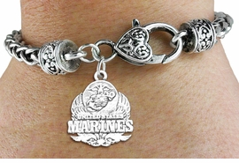 <bR> WHOLESALE ARMED FORCES CHARM BRACELET <BR>                     EXCLUSIVELY OURS!! <BR>                AN ALLAN ROBIN DESIGN!! <BR>          CADMIUM, LEAD & NICKEL FREE!! <BR>W1577SB - DETAILED 3D SILVER TONE <BR> U.S. MARINES INSIGNIA CHARM & HEART CLASP <BR>      BRACELET FROM $4.40 TO $9.20 �2014