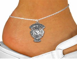 """<bR>     WHOLESALE FIREFIGHTER JEWELRY <BR>                  EXCLUSIVELY OURS!! <BR>             AN ALLAN ROBIN DESIGN!! <BR>       LEAD, NICKEL & CADMIUM FREE!! <BR> W1672SA1 - SILVER TONE, FIRE DEPT SHIELD <BR> """"FIREFIGHTER'S WIFE"""" CHARM ON <Br>    ANKLET FROM $4.35 TO $9.00 �2015"""