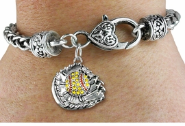 <BR>    WHOLESALE FASHION SOFTBALL JEWELRY  <bR>                    EXCLUSIVELY OURS!!  <Br>               AN ALLAN ROBIN DESIGN!!  <BR>         LEAD, NICKEL & CADMIUM FREE!!  <BR>   W1713SB1 - ANTIQUED SILVER TONE AND  <BR>YELLOW CRYSTAL SOFTBALL GLOVE AND BALL  <BR>CHARM ON HEART LOBSTER CLASP BRACELET  <Br>            FROM $5.98 TO $12.85 �2015