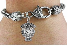 """<BR>  WHOLESALE FIRE DEPT BRACELET JEWELRY <bR>                EXCLUSIVELY OURS!! <Br>           AN ALLAN ROBIN DESIGN!! <BR>     LEAD, NICKEL & CADMIUM FREE!! <BR> W1672SB1 - DETAILED SILVER TONE FIRE DEPT <BR>SHIELD WITH """"FIREFIGHTER'S WIFE"""" CHARM <BR>   ON HEART LOBSTER CLASP BRACELET <Br>     FROM $5.63 TO $12.50 �2015"""