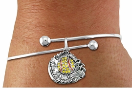 <BR>    WHOLESALE FASHION SOFTBALL JEWELRY  <bR>                    EXCLUSIVELY OURS!!  <Br>               AN ALLAN ROBIN DESIGN!!  <BR>         LEAD, NICKEL & CADMIUM FREE!!  <BR>  W1713SB10 - ANTIQUED SILVER TONE AND  <BR>YELLOW CRYSTAL SOFTBALL GLOVE AND BALL  <BR>CHARM ON ADJUSTABLE SOLID WIRE BRACELET  <Br>            FROM $5.98 TO $12.85 �2015