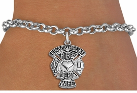 "<BR>WHOLESALE FIRE DEPT BRACELET JEWELRY <bR>                EXCLUSIVELY OURS!! <Br>           AN ALLAN ROBIN DESIGN!! <BR>  CLICK HERE TO SEE 1000+ EXCITING <BR>        CHANGES THAT YOU CAN MAKE! <BR>     LEAD, NICKEL & CADMIUM FREE!! <BR> W1672SB2 - SILVER TONE FIRE DEPT SHIELD <BR> WITH ""FIREFIGHTER'S WIFE"" CHARM ON LOBSTER CLASP<BR>  BRACELET FROM $5.15 TO $9.00 �2013"