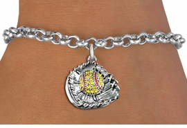 <BR>    WHOLESALE FASHION SOFTBALL JEWELRY  <bR>                    EXCLUSIVELY OURS!!  <Br>               AN ALLAN ROBIN DESIGN!!  <BR>      CLICK HERE TO SEE 1000+ EXCITING  <BR>            CHANGES THAT YOU CAN MAKE!  <BR>         LEAD, NICKEL & CADMIUM FREE!!  <BR>   W1713SB2 - ANTIQUED SILVER TONE AND  <BR>YELLOW CRYSTAL SOFTBALL GLOVE AND BALL  <BR> CHARM ON LOBSTER CLASP CHAIN BRACELET  <BR>             FROM $5.40 TO $9.85 �2015