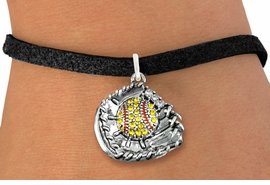 <BR>    WHOLESALE FASHION SOFTBALL JEWELRY  <bR>                    EXCLUSIVELY OURS!!  <Br>               AN ALLAN ROBIN DESIGN!!  <BR>      CLICK HERE TO SEE 1000+ EXCITING  <BR>            CHANGES THAT YOU CAN MAKE!  <BR>         LEAD, NICKEL & CADMIUM FREE!!  <BR>   W1713SB3 - ANTIQUED SILVER TONE AND  <BR>YELLOW CRYSTAL SOFTBALL GLOVE AND BALL  <BR> CHARM ON BLACK SUEDE LEATHER BRACELET  <BR>             FROM $5.40 TO $9.85 �2015