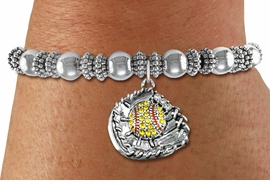 <BR>    WHOLESALE FASHION SOFTBALL JEWELRY  <bR>                    EXCLUSIVELY OURS!!  <Br>               AN ALLAN ROBIN DESIGN!!  <BR>         LEAD, NICKEL & CADMIUM FREE!!  <BR>   W1713SB6 - ANTIQUED SILVER TONE AND  <BR>YELLOW CRYSTAL SOFTBALL GLOVE AND BALL  <BR> CHARM ON SILVER TONE STRETCH BRACELET  <Br>            FROM $5.98 TO $12.85 �2015