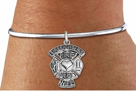 """<BR>WHOLESALE FIRE DEPT BRACELET JEWELRY <bR>                EXCLUSIVELY OURS!! <Br>           AN ALLAN ROBIN DESIGN!! <BR>     LEAD, NICKEL & CADMIUM FREE!! <BR> W1672SB8 - DETAILED SILVER TONE FIRE DEPT <BR>SHIELD WITH """"FIREFIGHTER'S WIFE"""" CHARM ON <BR>ADJUSTABLE SILVER TONE OPEN CUFF BRACELET <Br>     FROM $5.63 TO $12.50 �2015"""