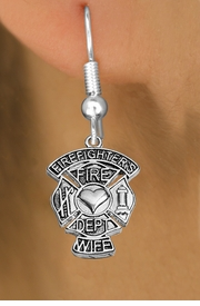 """<BR>  WHOLESALE FIRE FIGHTER EARRINGS <bR>              EXCLUSIVELY OURS!! <Br>         AN ALLAN ROBIN DESIGN!! <BR>   LEAD, NICKEL & CADMIUM FREE!! <BR> W1672SE1 - DETAILED SILVER TONE FIRE DEPT <BR>SHIELD WITH """"FIREFIGHTER'S WIFE"""" CHARM <BR> FISHHOOK EARRINGS FROM $4.95 TO $10.00 �2015"""