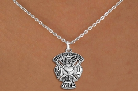 """<BR>       WHOLESALE FIRE DEPT NECKLACE JEWELRY  <bR>                   EXCLUSIVELY OURS!!  <Br>              AN ALLAN ROBIN DESIGN!!  <BR>     CLICK HERE TO SEE 1000+ EXCITING  <BR>           CHANGES THAT YOU CAN MAKE!  <BR>        LEAD, NICKEL & CADMIUM FREE!!  <BR>W1672SN1 - SILVER TONE FIRE DEPT SHIELD <BR>WITH """"FIREFIGHTER'S WIFE"""" CHARM ON CHAIN <BR>LINK NECKLACE FROM $5.90 TO $9.35 �2015"""