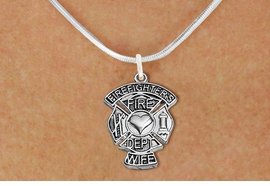 """<BR>  WHOLESALE FIRE DEPT NECKLACE JEWELRY  <bR>                   EXCLUSIVELY OURS!!  <Br>              AN ALLAN ROBIN DESIGN!!  <BR>     CLICK HERE TO SEE 1000+ EXCITING  <BR>           CHANGES THAT YOU CAN MAKE!  <BR>        LEAD, NICKEL & CADMIUM FREE!!  <BR>W1672SN2 - SILVER TONE FIRE DEPT SHIELD <BR>WITH """"FIREFIGHTER'S WIFE"""" CHARM ON SNAKE <BR>CHAIN NECKLACE FROM $5.90 TO $9.35 �2015"""