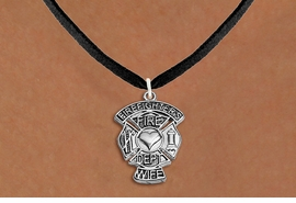 """<BR>  WHOLESALE FIRE DEPT NECKLACE JEWELRY  <bR>                   EXCLUSIVELY OURS!!  <Br>              AN ALLAN ROBIN DESIGN!!  <BR>     CLICK HERE TO SEE 1000+ EXCITING  <BR>           CHANGES THAT YOU CAN MAKE!  <BR>        LEAD, NICKEL & CADMIUM FREE!!  <BR>W1672SN3 - SILVER TONE FIRE DEPT SHIELD <BR>WITH """"FIREFIGHTER'S WIFE"""" CHARM ON BLACK <BR>SUEDE NECKLACE FROM $5.90 TO $9.35 �2015"""