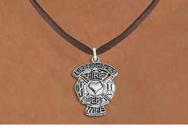 """<BR>  WHOLESALE FIRE DEPT NECKLACE JEWELRY  <bR>                   EXCLUSIVELY OURS!!  <Br>              AN ALLAN ROBIN DESIGN!!  <BR>     CLICK HERE TO SEE 1000+ EXCITING  <BR>           CHANGES THAT YOU CAN MAKE!  <BR>        LEAD, NICKEL & CADMIUM FREE!!  <BR>W1672SN4 - SILVER TONE FIRE DEPT SHIELD <BR>WITH """"FIREFIGHTER'S WIFE"""" CHARM ON BROWN <BR>SUEDE NECKLACE FROM $5.90 TO $9.35 �2015"""