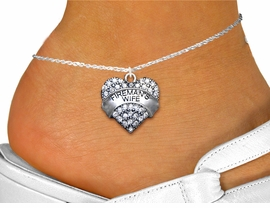 """<bR>  WHOLESALE FIREFIGHTER FASHION JEWELRY <BR>                     EXCLUSIVELY OURS!! <BR>                AN ALLAN ROBIN DESIGN!! <BR>          LEAD, NICKEL & CADMIUM FREE!! <BR>W1673SA1 - SILVER TONE AND CLEAR CRYSTAL <BR>""""FIREMAN'S WIFE"""" HEART CHARM  <Br>   AND ANKLET FROM $4.70 TO $9.35 �2015"""