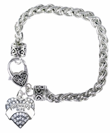 """<BR>           WHOLESALE FIREFIGHTER FASHION JEWELRY  <bR>                                      EXCLUSIVELY OURS!!  <Br>                               AN ALLAN ROBIN DESIGN!!  <BR>                         LEAD, NICKEL & CADMIUM FREE!!  <BR>            W1673SB1 - SILVER TONE AND CLEAR CRYSTAL  <BR>                      """"FIREMAN'S WIFE"""" HEART CHARM ON<Br>                            HEART LOBSTER CLASP BRACELET<BR>                                  FROM $5.98 TO $12.85 �2015"""