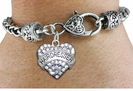 """<BR> WHOLESALE HAIR DRESSER FASHION JEWELRY  <bR>                    EXCLUSIVELY OURS!!  <Br>               AN ALLAN ROBIN DESIGN!!  <BR>         LEAD, NICKEL & CADMIUM FREE!!  <BR>  W1675SB1 - SILVER TONE AND CLEAR CRYSTAL  <BR>""""FIREMAN'S WIFE"""" HEART CHARM ON HEART LOBSTER CLASP <Br> BRACELET FROM $5.98 TO $12.85 �2015"""