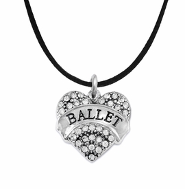 "<BR>    WHOLESALE BALLET DANCER JEWELRY   <br>                     HYPOALLERGENIC     <BR>      NICKEL, LEAD & CADMIUM FREE!!     <BR> W1706N3 - SILVER TONE AND CRYSTAL    <BR>    ""BALLET"" DANCER HEART CHARM ON     <BR>  BLACK SUEDE LEATHERETTE NECKLACE   <br>        FROM $5.98 TO $12.85 �2015"