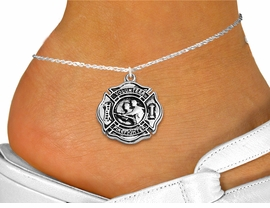 """<bR>     WHOLESALE FIREFIGHTER JEWELRY  <BR>                EXCLUSIVELY OURS!!  <BR>           AN ALLAN ROBIN DESIGN!!  <BR>     LEAD, NICKEL & CADMIUM FREE!!  <BR>W1716SA1 - SILVER TONE SHIELD WITH <BR>  """"VOLUNTEER FIREFIGHTER"""" CHARM ON <Br>  ANKLET FROM $4.35 TO $9.00 �2015"""