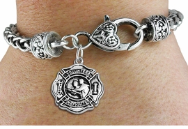 """<BR>  WHOLESALE FIRE DEPT BRACELET JEWELRY <bR>                EXCLUSIVELY OURS!! <Br>           AN ALLAN ROBIN DESIGN!! <BR>     LEAD, NICKEL & CADMIUM FREE!! <BR> W1716SB1 - DETAILED SILVER TONE FIRE DEPT <BR>SHIELD WITH """"VOLUNTEER FIREFIGHTER"""" CHARM <BR>   ON HEART LOBSTER CLASP BRACELET <Br>     FROM $5.63 TO $12.50 �2015"""