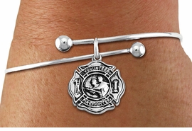 """<BR>  WHOLESALE FIRE DEPT BRACELET JEWELRY <bR>                EXCLUSIVELY OURS!! <Br>           AN ALLAN ROBIN DESIGN!! <BR>     LEAD, NICKEL & CADMIUM FREE!! <BR> W1716SB10 - DETAILED SILVER TONE FIRE DEPT <BR>SHIELD WITH """"VOLUNTEER FIREFIGHTER"""" CHARM ON <BR>ADJUSTABLE SILVER TONE SOLID WIRE BRACELET <Br>     FROM $5.63 TO $12.50 �2015"""