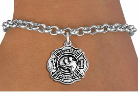 """<BR>WHOLESALE FIRE DEPT BRACELET JEWELRY <bR>                EXCLUSIVELY OURS!! <Br>           AN ALLAN ROBIN DESIGN!! <BR>  CLICK HERE TO SEE 1000+ EXCITING <BR>        CHANGES THAT YOU CAN MAKE! <BR>     LEAD, NICKEL & CADMIUM FREE!! <BR> W1716SB2 - SILVER TONE FIRE DEPT SHIELD <BR> WITH """"VOLUNTEER FIREFIGHTER"""" CHARM ON LOBSTER CLASP<BR>  BRACELET FROM $5.15 TO $9.00 �2013"""