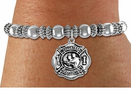 """<BR>  WHOLESALE FIRE DEPT BRACELET JEWELRY <bR>                EXCLUSIVELY OURS!! <Br>           AN ALLAN ROBIN DESIGN!! <BR>     LEAD, NICKEL & CADMIUM FREE!! <BR> W1716SB6 - DETAILED SILVER TONE FIRE DEPT <BR>SHIELD WITH """"VOLUNTEER FIREFIGHTER"""" CHARM ON<BR> BEADED SILVER TONE STRETCH BRACELET <Br>     FROM $5.63 TO $12.50 �2015"""