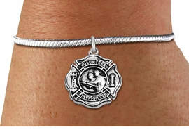 """<BR>  WHOLESALE FIRE DEPT BRACELET JEWELRY <bR>                EXCLUSIVELY OURS!! <Br>           AN ALLAN ROBIN DESIGN!! <BR>     LEAD, NICKEL & CADMIUM FREE!! <BR> W1716SB7 - DETAILED SILVER TONE FIRE DEPT <BR>SHIELD WITH """"VOLUNTEER FIREFIGHTER"""" CHARM ON<BR>SILVER TONE SNAKE CHAIN BRACELET <Br>     FROM $5.63 TO $12.50 �2015"""