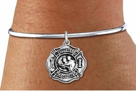 """<BR>  WHOLESALE FIRE DEPT BRACELET JEWELRY <bR>                EXCLUSIVELY OURS!! <Br>           AN ALLAN ROBIN DESIGN!! <BR>     LEAD, NICKEL & CADMIUM FREE!! <BR> W1716SB8 - DETAILED SILVER TONE FIRE DEPT <BR>SHIELD WITH """"VOLUNTEER FIREFIGHTER"""" CHARM ON <BR>ADJUSTABLE SILVER TONE OPEN CUFF BRACELET <Br>     FROM $5.63 TO $12.50 �2015"""