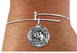 """<BR>  WHOLESALE FIRE DEPT BRACELET JEWELRY <bR>                EXCLUSIVELY OURS!! <Br>           AN ALLAN ROBIN DESIGN!! <BR>     LEAD, NICKEL & CADMIUM FREE!! <BR> W1716SB9 - DETAILED SILVER TONE FIRE DEPT <BR>SHIELD WITH """"VOLUNTEER FIREFIGHTER"""" CHARM ON <BR>ADJUSTABLE SILVER TONE THIN WIRE BRACELET <Br>     FROM $5.63 TO $12.50 �2015"""