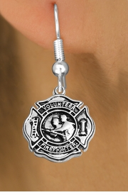 """<BR>  WHOLESALE FIRE FIGHTER EARRINGS <bR>              EXCLUSIVELY OURS!! <Br>         AN ALLAN ROBIN DESIGN!! <BR>   LEAD, NICKEL & CADMIUM FREE!! <BR> W1716SE1 - DETAILED SILVER TONE FIRE DEPT <BR>SHIELD WITH """"VOLUNTEER FIREFIGHTER"""" CHARM <BR> FISHHOOK EARRINGS FROM $4.95 TO $10.00 �2015"""