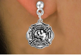 """<BR>  WHOLESALE FIRE FIGHTER EARRINGS <bR>              EXCLUSIVELY OURS!! <Br>         AN ALLAN ROBIN DESIGN!! <BR>   LEAD, NICKEL & CADMIUM FREE!! <BR> W1716SE2 - DETAILED SILVER TONE FIRE DEPT <BR>SHIELD WITH """"VOLUNTEER FIREFIGHTER"""" CHARM <BR>POST STYLE EARRINGS FROM $4.95 TO $10.00 �2015"""