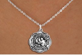 """<BR>       WHOLESALE FIRE DEPT NECKLACE JEWELRY  <bR>                   EXCLUSIVELY OURS!!  <Br>              AN ALLAN ROBIN DESIGN!!  <BR>     CLICK HERE TO SEE 1000+ EXCITING  <BR>           CHANGES THAT YOU CAN MAKE!  <BR>        LEAD, NICKEL & CADMIUM FREE!!  <BR>W1716SN1 - SILVER TONE FIRE DEPT SHIELD <BR> WITH """"VOLUNTEER FIREFIGHTER"""" CHARM ON  <BR>CHAIN NECKLACE FROM $5.90 TO $9.35 �2015"""