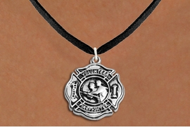 """<BR>       WHOLESALE FIRE DEPT NECKLACE JEWELRY  <bR>                   EXCLUSIVELY OURS!!  <Br>              AN ALLAN ROBIN DESIGN!!  <BR>     CLICK HERE TO SEE 1000+ EXCITING  <BR>           CHANGES THAT YOU CAN MAKE!  <BR>        LEAD, NICKEL & CADMIUM FREE!!  <BR>W1716SN3 - SILVER TONE FIRE DEPT SHIELD <BR> WITH """"VOLUNTEER FIREFIGHTER"""" CHARM ON <BR>BLACK SUEDE NECKLACE FROM $5.90 TO $9.35 �2015"""