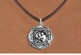 """<BR>       WHOLESALE FIRE DEPT NECKLACE JEWELRY  <bR>                   EXCLUSIVELY OURS!!  <Br>              AN ALLAN ROBIN DESIGN!!  <BR>     CLICK HERE TO SEE 1000+ EXCITING  <BR>           CHANGES THAT YOU CAN MAKE!  <BR>        LEAD, NICKEL & CADMIUM FREE!!  <BR>W1716SN4 - SILVER TONE FIRE DEPT SHIELD <BR> WITH """"VOLUNTEER FIREFIGHTER"""" CHARM ON <BR>BROWN SUEDE NECKLACE FROM $5.90 TO $9.35 �2015"""