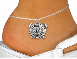 """<bR>     WHOLESALE FIREFIGHTER JEWELRY  <BR>                EXCLUSIVELY OURS!!  <BR>           AN ALLAN ROBIN DESIGN!!  <BR>     LEAD, NICKEL & CADMIUM FREE!!  <BR>W1717SA1 - SILVER TONE FIRE SHIELD  <BR>       WITH """"FIRE RESCUE"""" CHARM ON  <Br>  ANKLET FROM $4.35 TO $9.00 �2015"""
