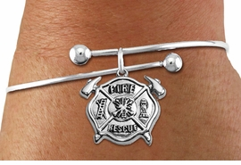 """<BR>  WHOLESALE FIRE DEPT BRACELET JEWELRY <bR>                EXCLUSIVELY OURS!! <Br>           AN ALLAN ROBIN DESIGN!! <BR>     LEAD, NICKEL & CADMIUM FREE!! <BR> W1717SB10 - DETAILED SILVER TONE FIRE DEPT <BR>SHIELD WITH """"FIRE RESCUE"""" CHARM <BR>   ON SOLID WIRE BRACELET <Br>     FROM $5.63 TO $12.50 �2015"""