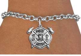 """<BR>WHOLESALE FIRE DEPT BRACELET JEWELRY <bR>                EXCLUSIVELY OURS!! <Br>           AN ALLAN ROBIN DESIGN!! <BR>  CLICK HERE TO SEE 1000+ EXCITING <BR>        CHANGES THAT YOU CAN MAKE! <BR>     LEAD, NICKEL & CADMIUM FREE!! <BR> W1717SB2 - SILVER TONE FIRE DEPT SHIELD <BR> WITH """"FIRE RESCUE"""" CHARM ON LOBSTER CLASP<BR>  BRACELET FROM $5.15 TO $9.00 �2013"""