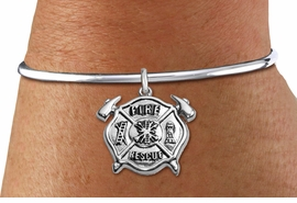 """<BR>  WHOLESALE FIRE DEPT BRACELET JEWELRY <bR>                EXCLUSIVELY OURS!! <Br>           AN ALLAN ROBIN DESIGN!! <BR>     LEAD, NICKEL & CADMIUM FREE!! <BR> W1717SB8 - DETAILED SILVER TONE FIRE DEPT <BR>SHIELD WITH """"FIRE RESCUE"""" CHARM <BR>   ON OPEN CUFF BRACELET <Br>     FROM $5.63 TO $12.50 �2015"""