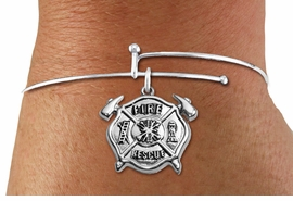 """<BR>  WHOLESALE FIRE DEPT BRACELET JEWELRY <bR>                EXCLUSIVELY OURS!! <Br>           AN ALLAN ROBIN DESIGN!! <BR>     LEAD, NICKEL & CADMIUM FREE!! <BR> W1717SB9 - DETAILED SILVER TONE FIRE DEPT <BR>SHIELD WITH """"FIRE RESCUE"""" CHARM <BR>   ON THIN WIRE BRACELET <Br>     FROM $5.63 TO $12.50 �2015"""
