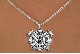 """<BR>       WHOLESALE FIRE DEPT NECKLACE JEWELRY  <bR>                   EXCLUSIVELY OURS!!  <Br>              AN ALLAN ROBIN DESIGN!!  <BR>     CLICK HERE TO SEE 1000+ EXCITING  <BR>           CHANGES THAT YOU CAN MAKE!  <BR>        LEAD, NICKEL & CADMIUM FREE!!  <BR>W1717SN1 - SILVER TONE FIRE DEPT SHIELD <BR> WITH """"FIRE RESCUE"""" CHARM ON PETITE CHAIN <BR>LINK NECKLACE FROM $5.90 TO $9.35 �2015"""