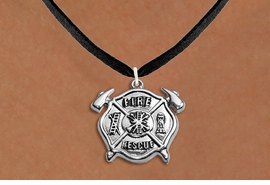 """<BR>       WHOLESALE FIRE DEPT NECKLACE JEWELRY  <bR>                   EXCLUSIVELY OURS!!  <Br>              AN ALLAN ROBIN DESIGN!!  <BR>     CLICK HERE TO SEE 1000+ EXCITING  <BR>           CHANGES THAT YOU CAN MAKE!  <BR>        LEAD, NICKEL & CADMIUM FREE!!  <BR>W1717SN3 - SILVER TONE FIRE DEPT SHIELD  <BR> WITH """"FIRE RESCUE"""" CHARM ON BLACK SUEDE <BR>    NECKLACE FROM $5.90 TO $9.35 �2015"""