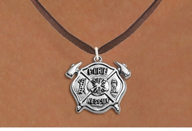 """<BR>       WHOLESALE FIRE DEPT NECKLACE JEWELRY  <bR>                   EXCLUSIVELY OURS!!  <Br>              AN ALLAN ROBIN DESIGN!!  <BR>     CLICK HERE TO SEE 1000+ EXCITING  <BR>           CHANGES THAT YOU CAN MAKE!  <BR>        LEAD, NICKEL & CADMIUM FREE!!  <BR>W1717SN4 - SILVER TONE FIRE DEPT SHIELD  <BR> WITH """"FIRE RESCUE"""" CHARM ON BROWN SUEDE <BR>    NECKLACE FROM $5.90 TO $9.35 �2015"""
