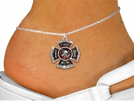 """<bR>  WHOLESALE FIREFIGHTER FASHION JEWELRY <BR>                     EXCLUSIVELY OURS!! <BR>                AN ALLAN ROBIN DESIGN!! <BR>          LEAD, NICKEL & CADMIUM FREE!! <BR>W1718SA1 - SILVER TONE AND RED EPOXY WITH <BR>CRYSTAL ACCENTS """"FIRE MOM"""" SHIELD CHARM  <Br>   AND ANKLET FROM $4.70 TO $9.35 �2015"""