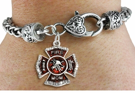 """<BR> WHOLESALE FIREFIGHTER FASHION JEWELRY  <bR>                    EXCLUSIVELY OURS!!  <Br>               AN ALLAN ROBIN DESIGN!!  <BR>         LEAD, NICKEL & CADMIUM FREE!!  <BR>  W1718SB1 - SILVER TONE AND RED EPOXY  <BR>WITH CRYSTAL ACCENTS """"FIRE MOM"""" SHIELD  <BR> CHARM ON HEART LOBSTER CLASP BRACELET  <Br>          FROM $5.98 TO $12.85 �2015"""